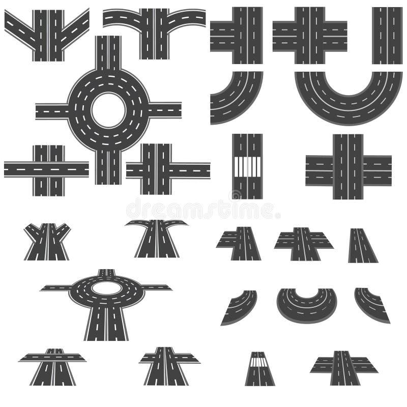 Sistema de diversas secciones del camino con los cruces giratorios, los empalmes, las curvas y las diversas intersecciones Visión ilustración del vector