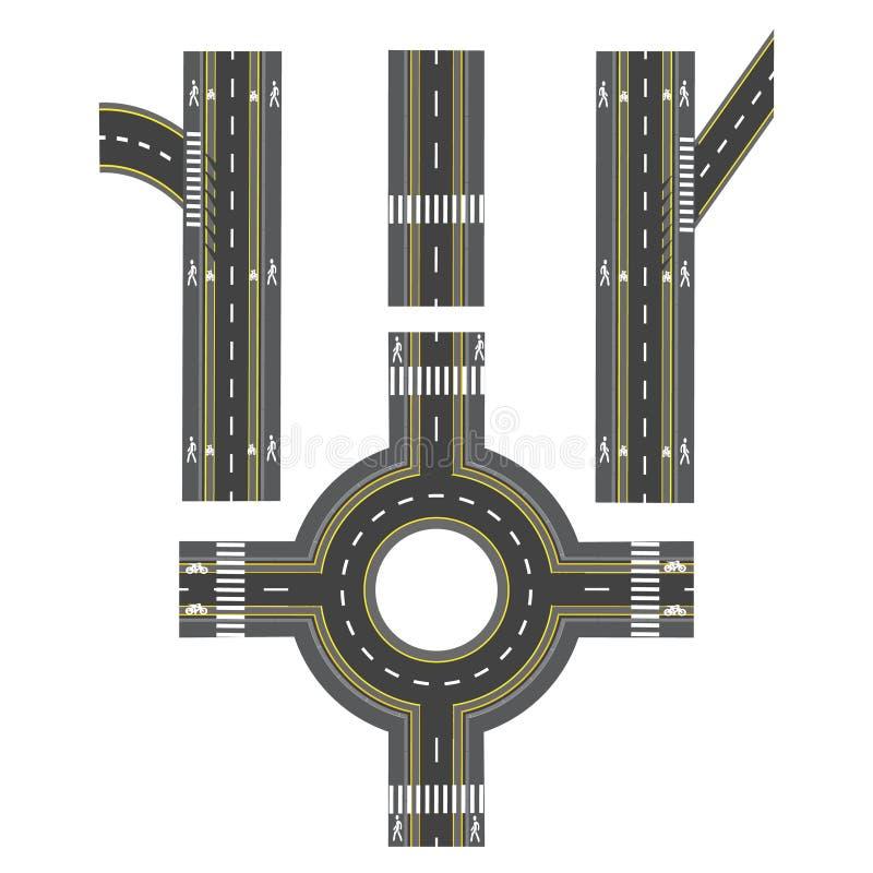 Sistema de diversas secciones del camino, transición Trayectorias, aceras e intersecciones de la bici Ilustración libre illustration