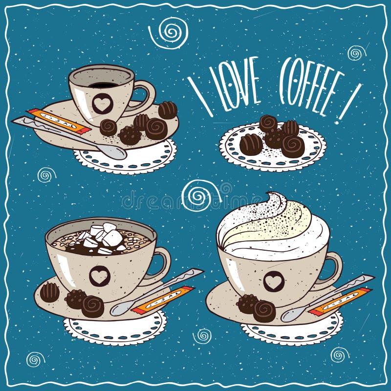 Sistema de diversas tazas de café stock de ilustración