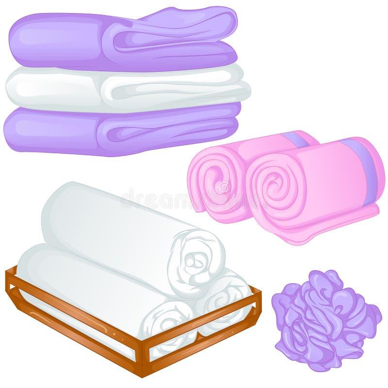 Sistema de diversas toallas stock de ilustración