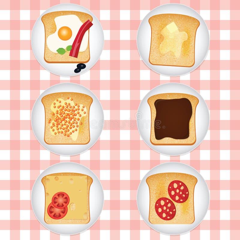 Sistema de diversas tostadas sabrosas stock de ilustración