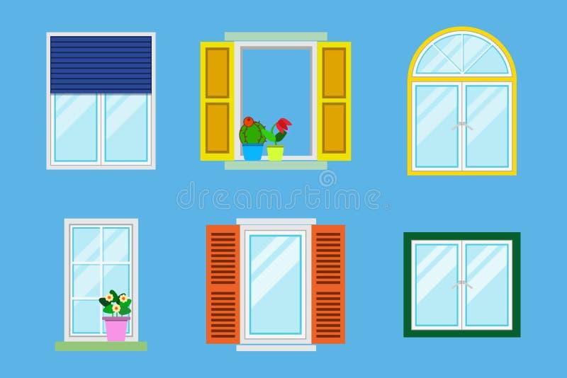 Sistema de diversas ventanas coloridas detalladas con los alf?izares, cortinas, flores, balcones Ejemplo plano del vector del est ilustración del vector