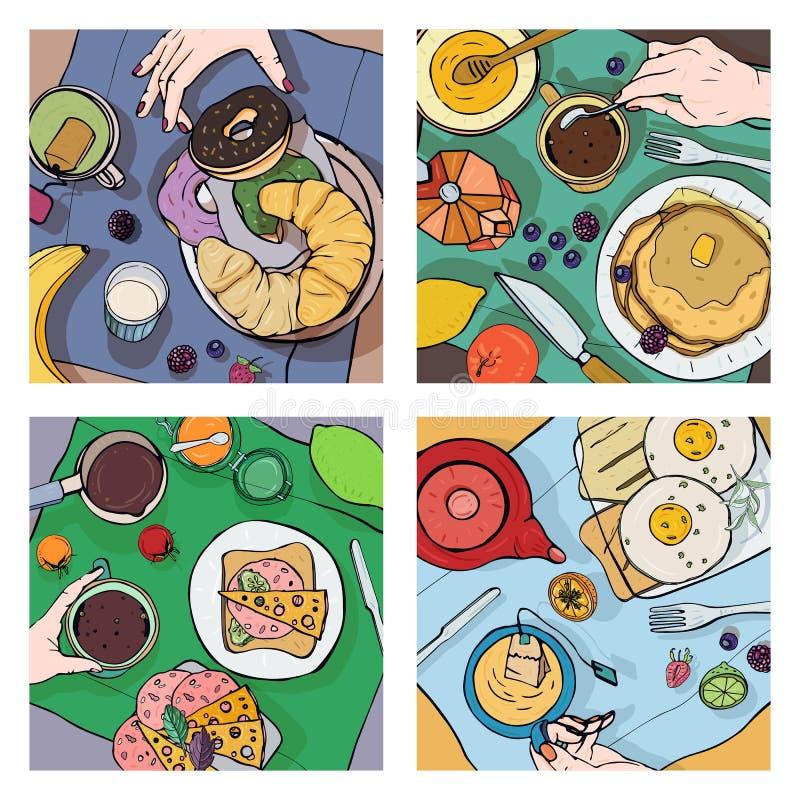 Sistema de diverso desayuno, visión superior Ejemplos cuadrados con el alumerzo Café sano, fresco del brunch, té, crepes stock de ilustración