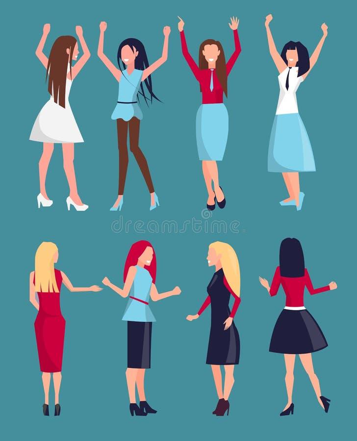 Sistema de diverso ejemplo del vector de los iconos de las mujeres libre illustration