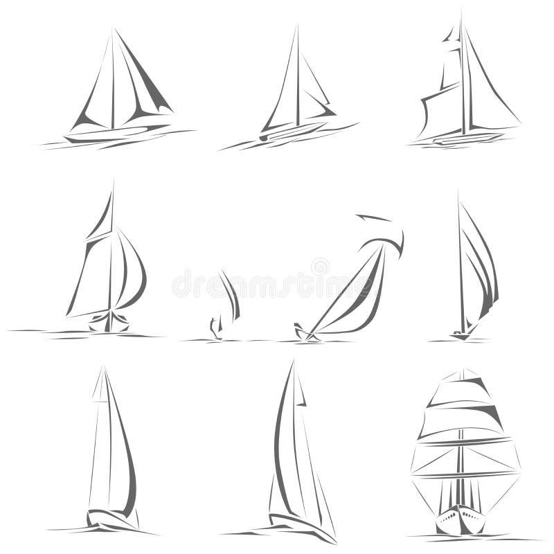 Sistema de diverso icono de los veleros (vector simple). libre illustration