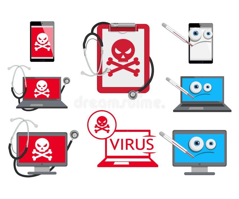 Sistema de diverso logotipo cibernético del virus stock de ilustración