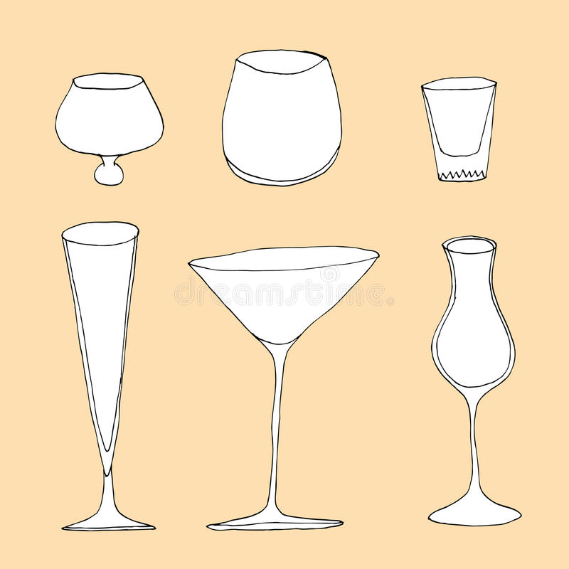 Sistema de diverso vidrio stock de ilustración