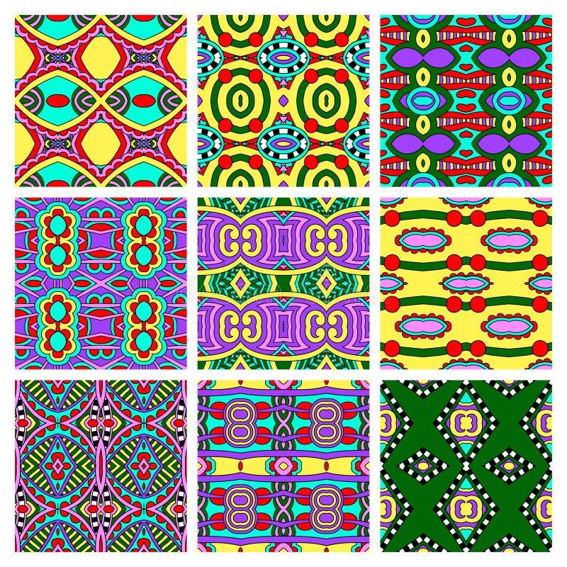 Sistema de diverso vintage coloreado inconsútil stock de ilustración