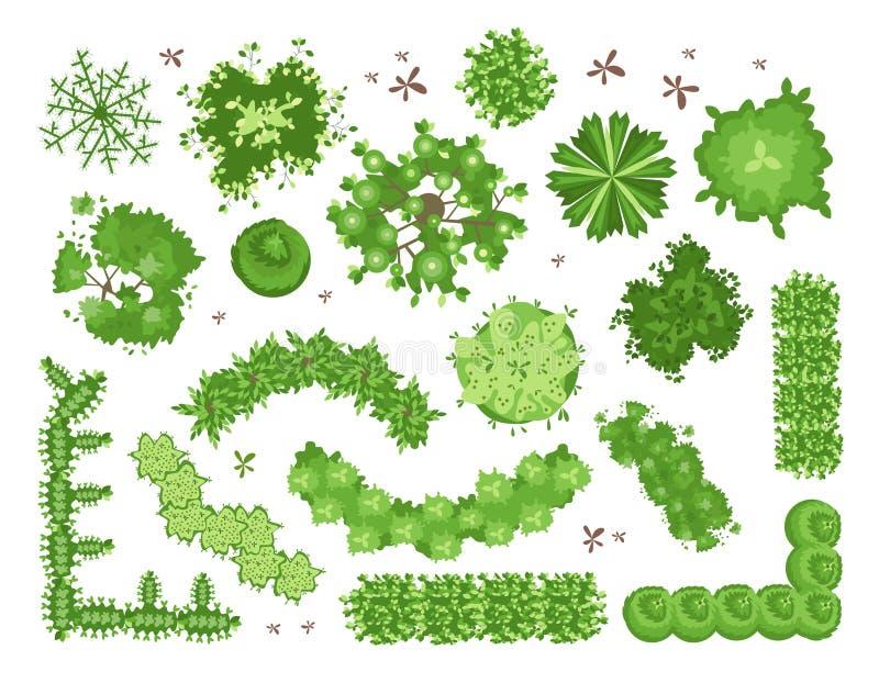 Sistema de diversos árboles verdes, arbustos, setos Visión superior para los proyectos de diseño del paisaje Ejemplo del vector,  stock de ilustración