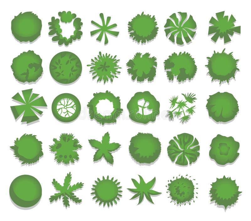 Sistema de diversos árboles verdes, arbustos, setos Visión superior para los proyectos de diseño del paisaje Ejemplo del vector,  libre illustration