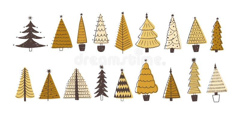 Sistema de diversos abetos, pinos o piceas adornados con las chucherías Paquete de árboles de navidad coníferos del bosque del in stock de ilustración