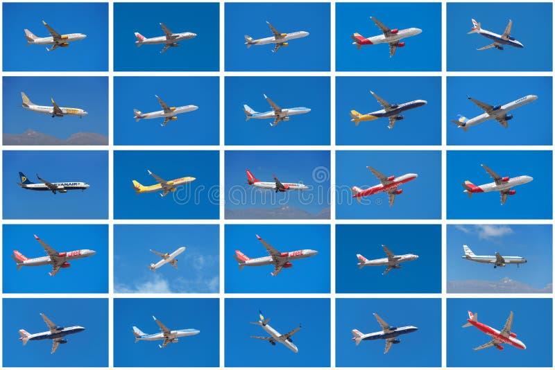 Sistema de diversos aeroplanos, de diversas líneas aéreas imágenes de archivo libres de regalías