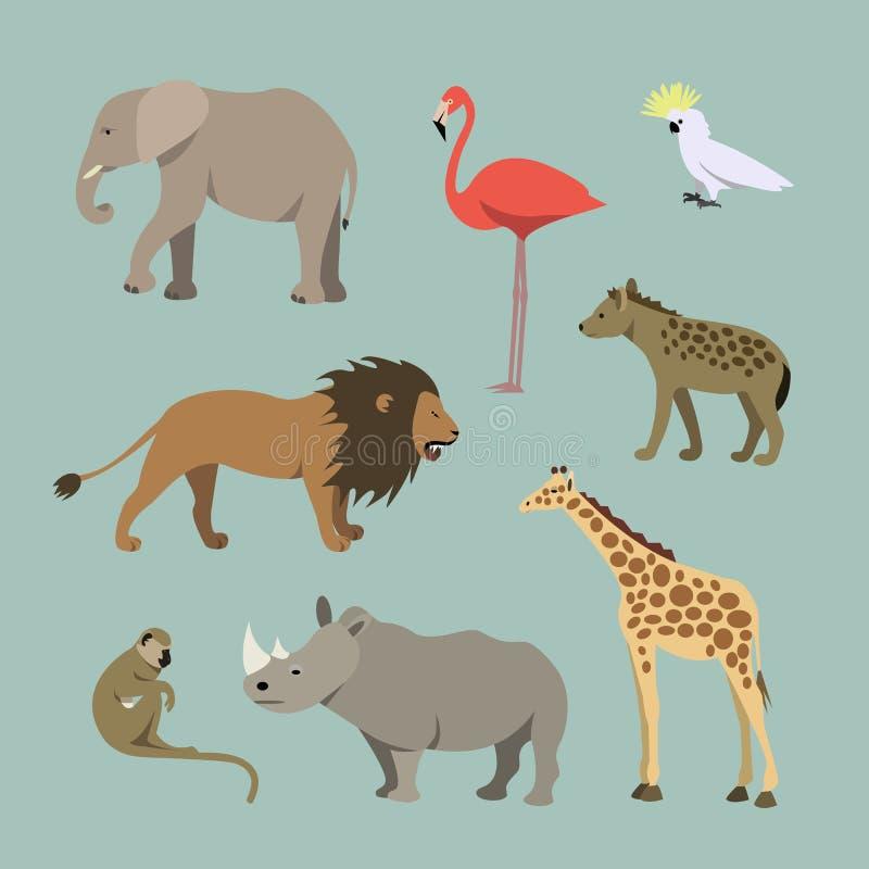 Sistema de diversos animales africanos Animales de la leona africana del savanah, elefante, rinoceronte, jirafa, flamenco ilustración del vector