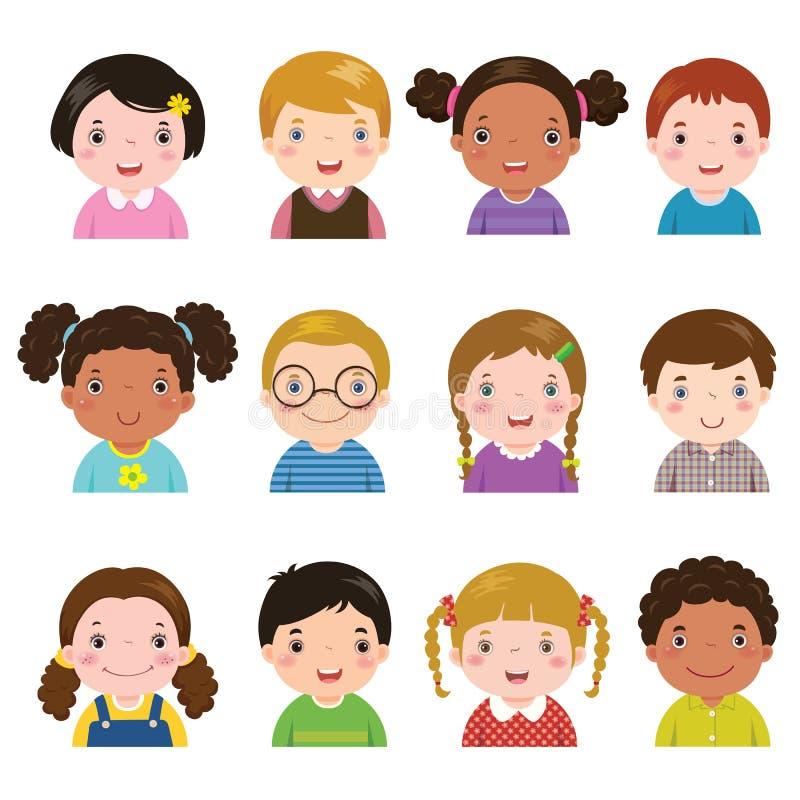Sistema de diversos avatares de muchachos y de muchachas stock de ilustración