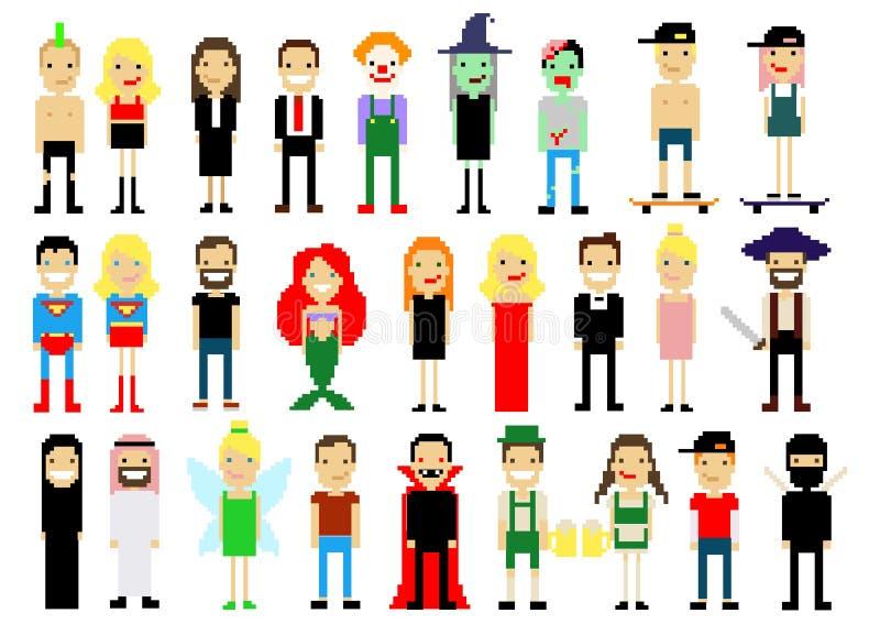 Sistema de diversos caracteres del arte del pixel en blanco Ilustración del vector Iconos de la gente Víspera de Todos los Santos stock de ilustración