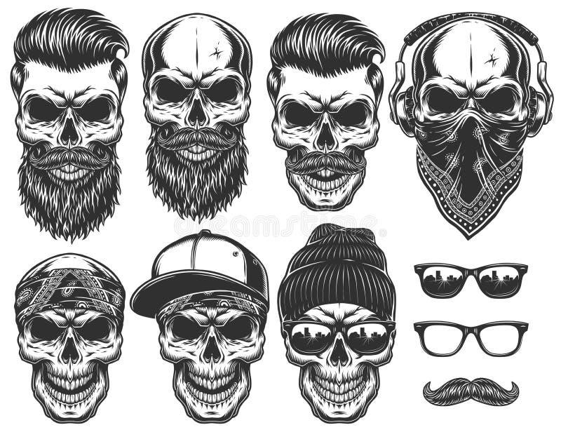 Sistema de diversos caracteres del cráneo con diversas cualidades modernas de la ciudad del estilo de la calle stock de ilustración