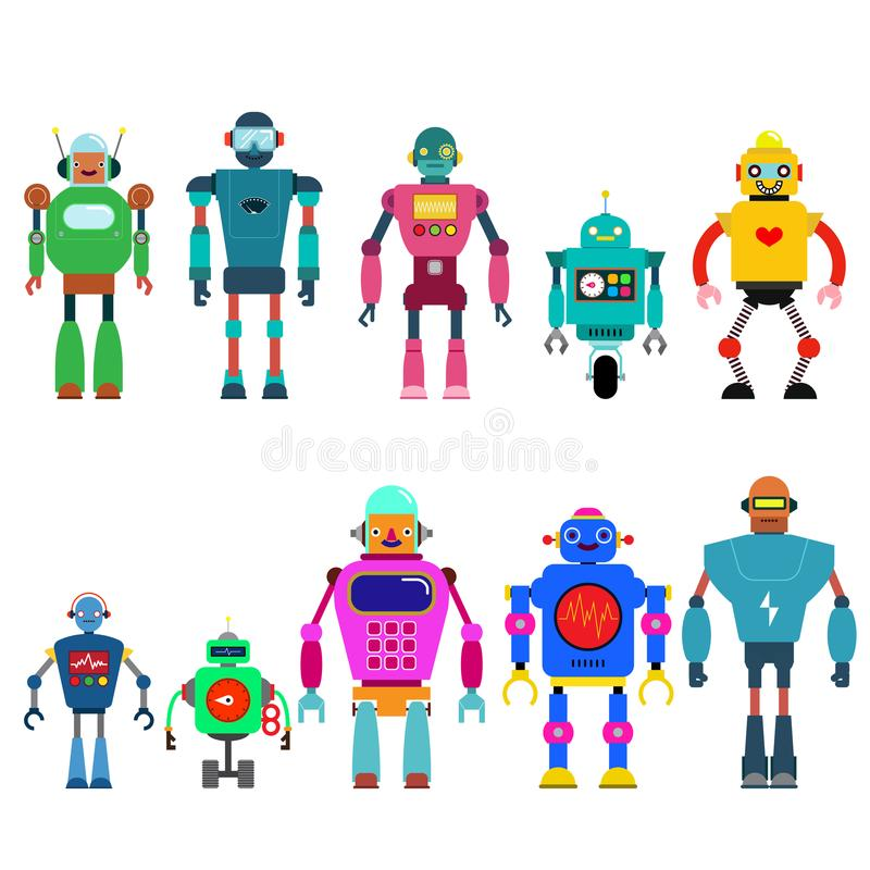 Sistema de diversos caracteres de los robots de la historieta, línea estilo de los iconos del cyborg del astronauta aislados en e libre illustration