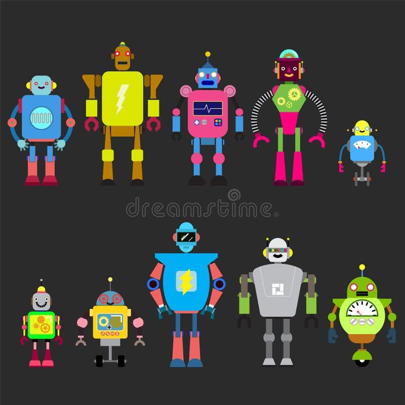 Sistema de diversos caracteres de los robots de la historieta, línea estilo de los iconos del cyborg del astronauta aislados en e stock de ilustración