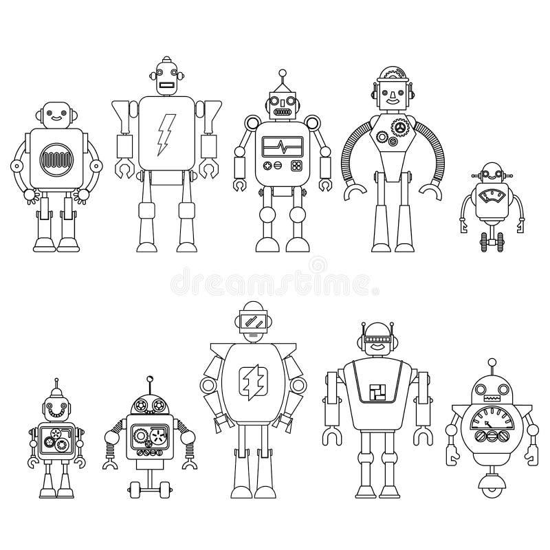 Sistema de diversos caracteres de los robots de la historieta, línea estilo de los iconos del cyborg del astronauta aislados en e ilustración del vector