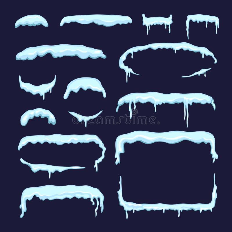 Sistema de diversos casquillos y carámbanos de la nieve del invierno Fronteras y divisores en estilo de la historieta stock de ilustración