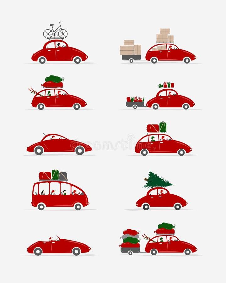 Sistema de diversos coches rojos con el equipaje para su stock de ilustración
