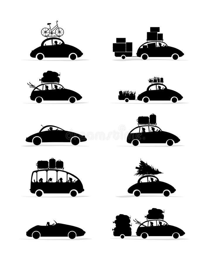 Sistema de diversos coches rojos con el equipaje para su ilustración del vector