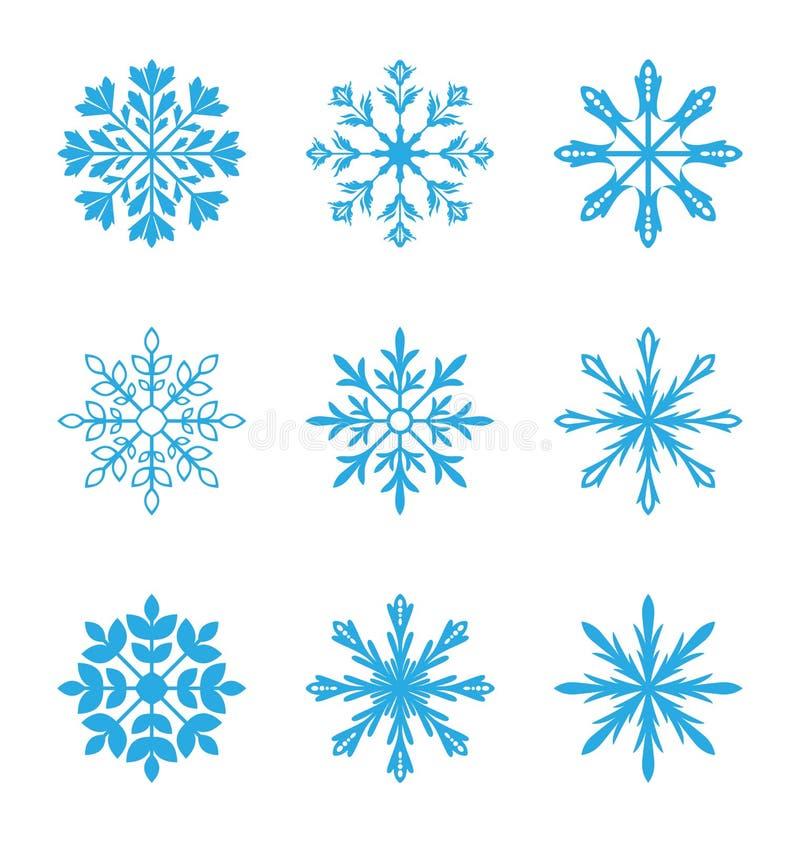 Sistema de diversos copos de nieve aislados en el fondo blanco ilustración del vector