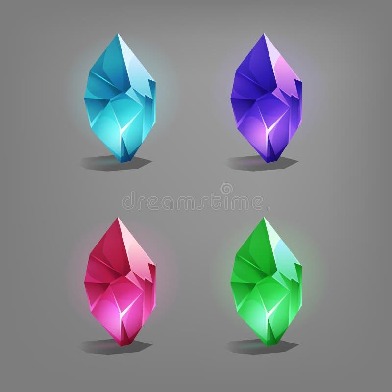 Sistema de diversos cristales de la historieta de los recursos del juego libre illustration