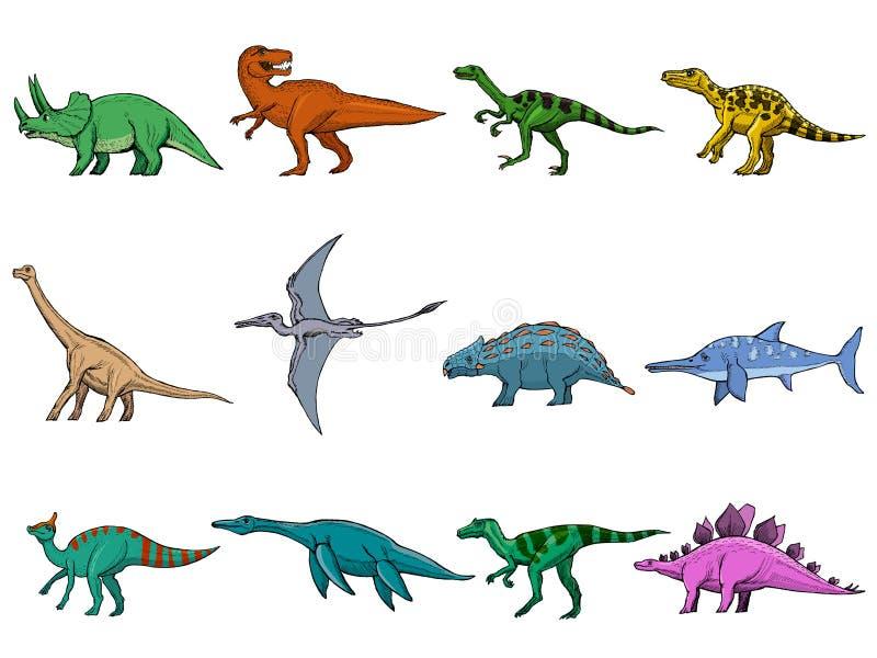 Sistema de diversos dinosaurios ilustración del vector