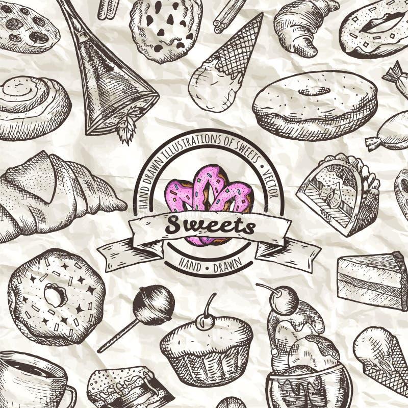 Sistema de diversos dulces ejemplo a mano del vector stock de ilustración