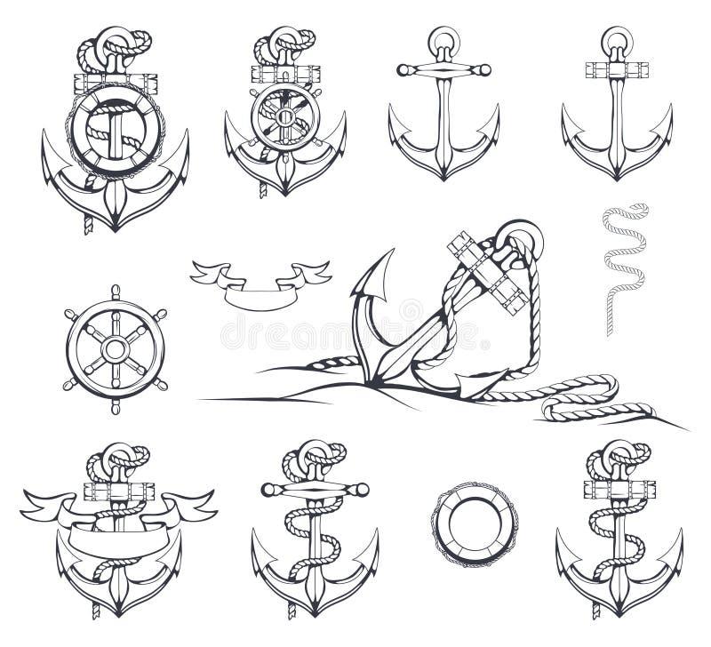 Sistema de diversos ejemplos de anclas Volante del `s de la nave Boya de vida Ancla dibujada mano stock de ilustración