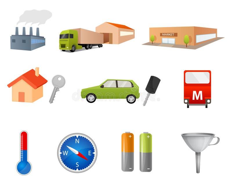 Sistema de diversos ejemplos o iconos simples libre illustration