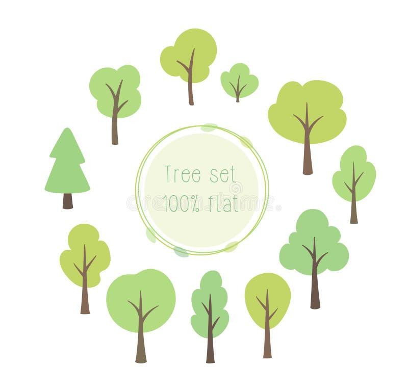 Sistema de diversos ejemplos planos del vector de los árboles libre illustration