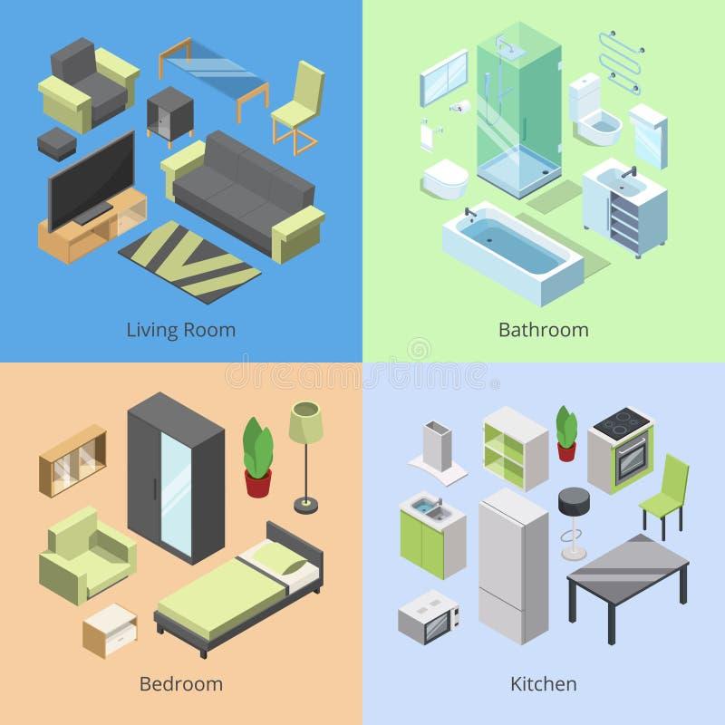 Sistema de diversos elementos de los muebles para los cuartos en hogar moderno Vector los ejemplos isométricos de la cocina, dorm ilustración del vector