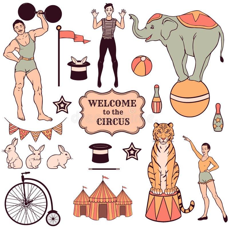 Sistema de diversos elementos del circo stock de ilustración