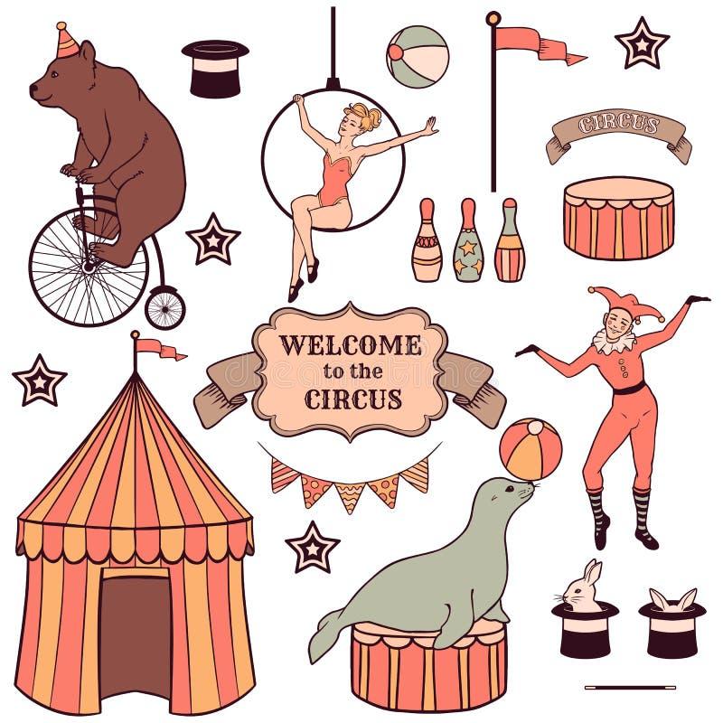 Sistema de diversos elementos del circo libre illustration