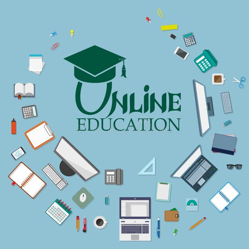 Sistema de diversos elementos del web Educación en línea libre illustration
