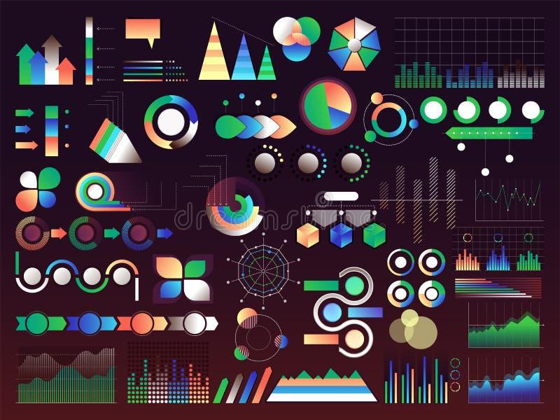 Sistema de diversos elementos infographic creativos incluyendo estadística ilustración del vector