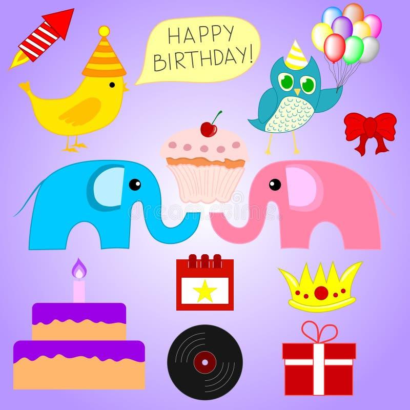 Sistema de diversos elementos de la fiesta de cumpleaños para su diseño, juego, tarjeta Ilustración del vector stock de ilustración