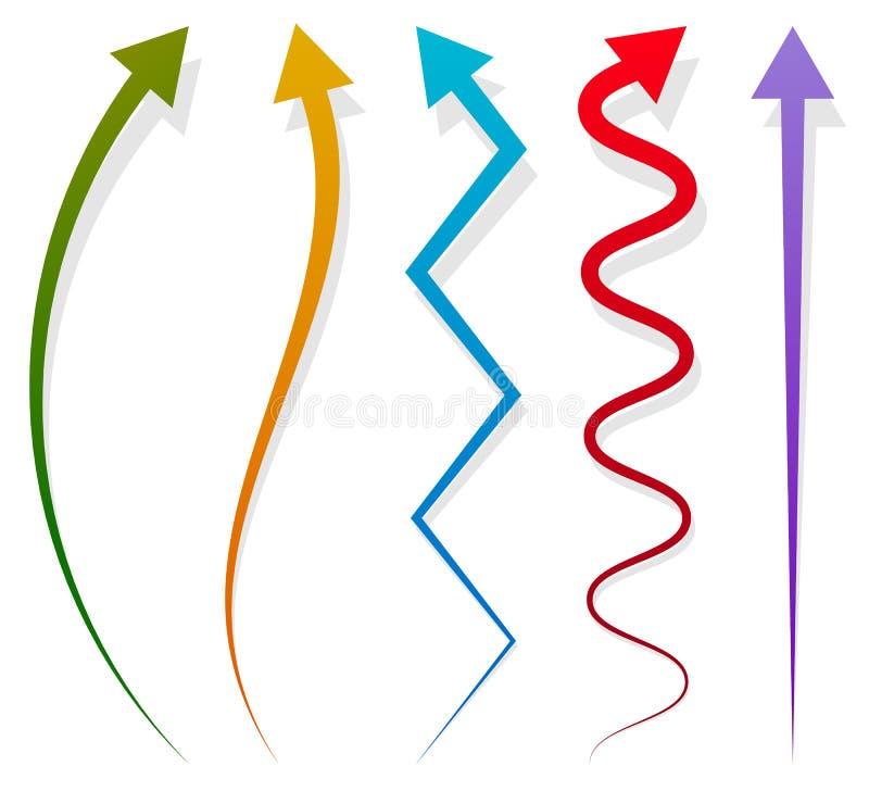 Sistema de 5 diversos elementos largos, verticales de la flecha con la sombra stock de ilustración
