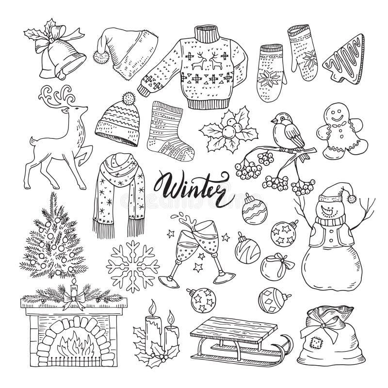 Sistema de diversos elementos de los inviernos Ejemplos del vector de los objetos del día de fiesta libre illustration