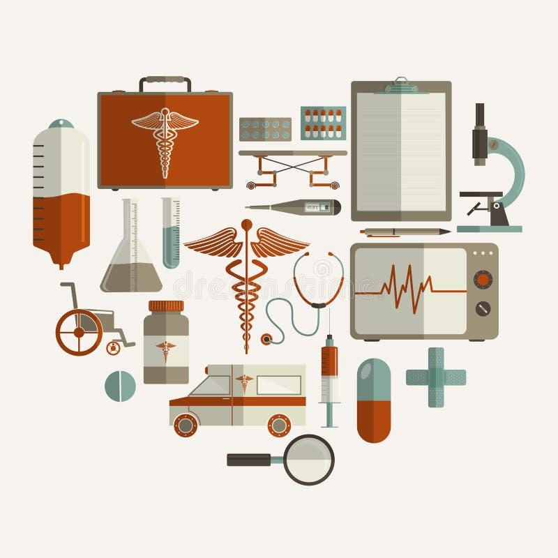 Sistema de diversos elementos médicos stock de ilustración