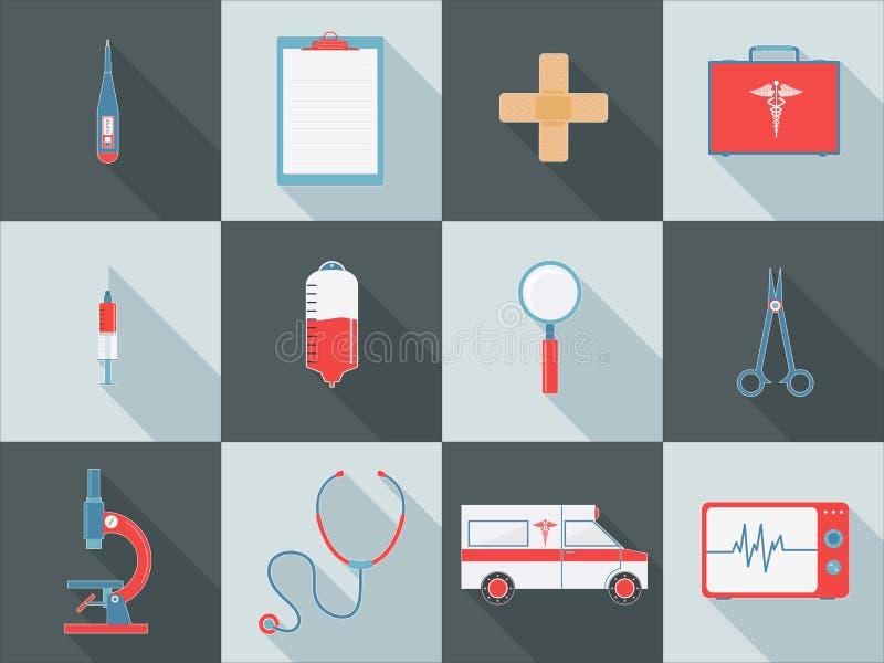 Sistema de diversos elementos médicos libre illustration