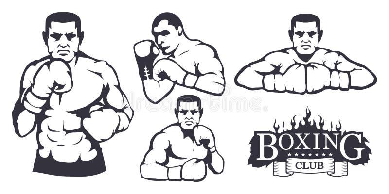 Sistema de diversos elementos para el diseño de la caja - guantes de boxeo, hombre del boxeador Sistema del equipo de deportes Ej ilustración del vector