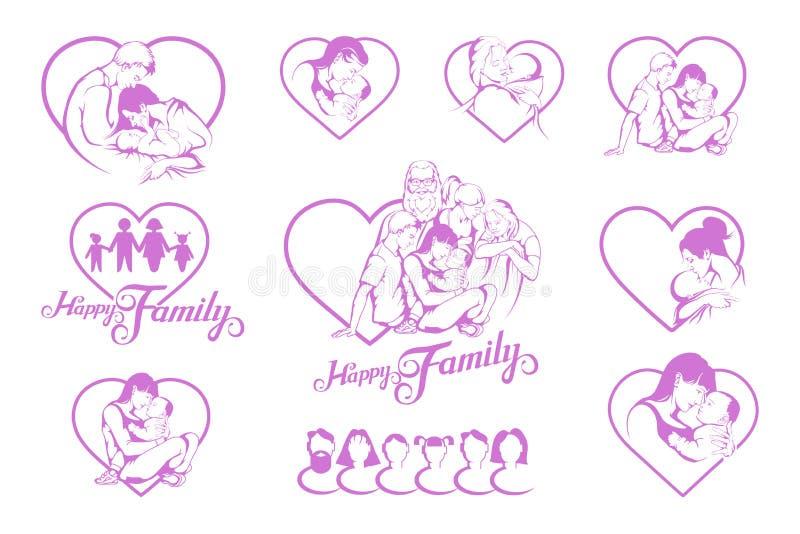 Sistema de diversos emblemas de la familia joven feliz ilustración del vector