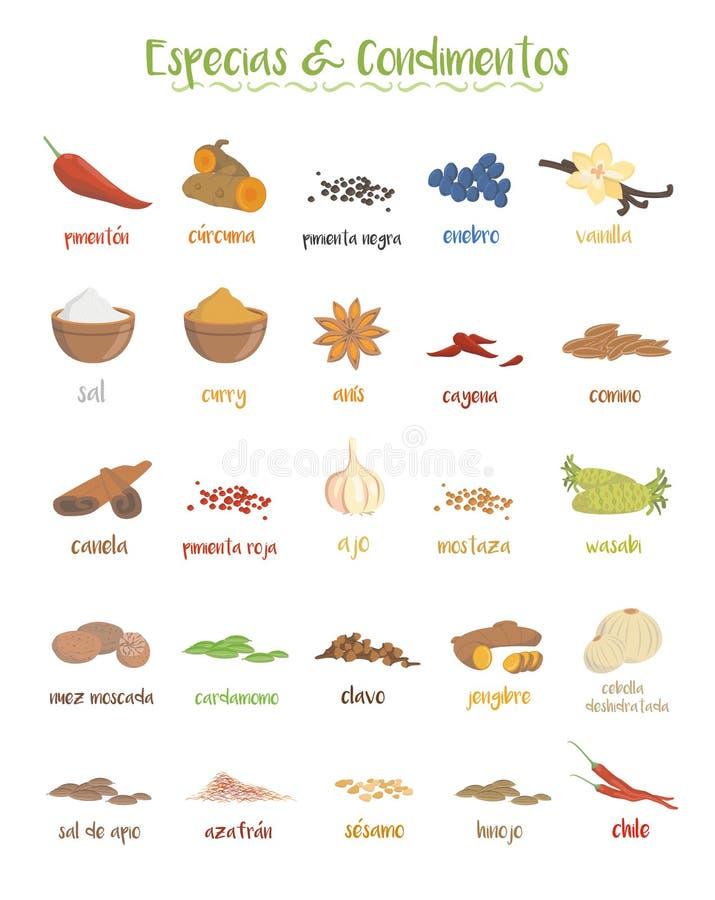 Sistema de 25 diversos especies y coniments culinarios en estilo de la historieta Nombres españoles ilustración del vector