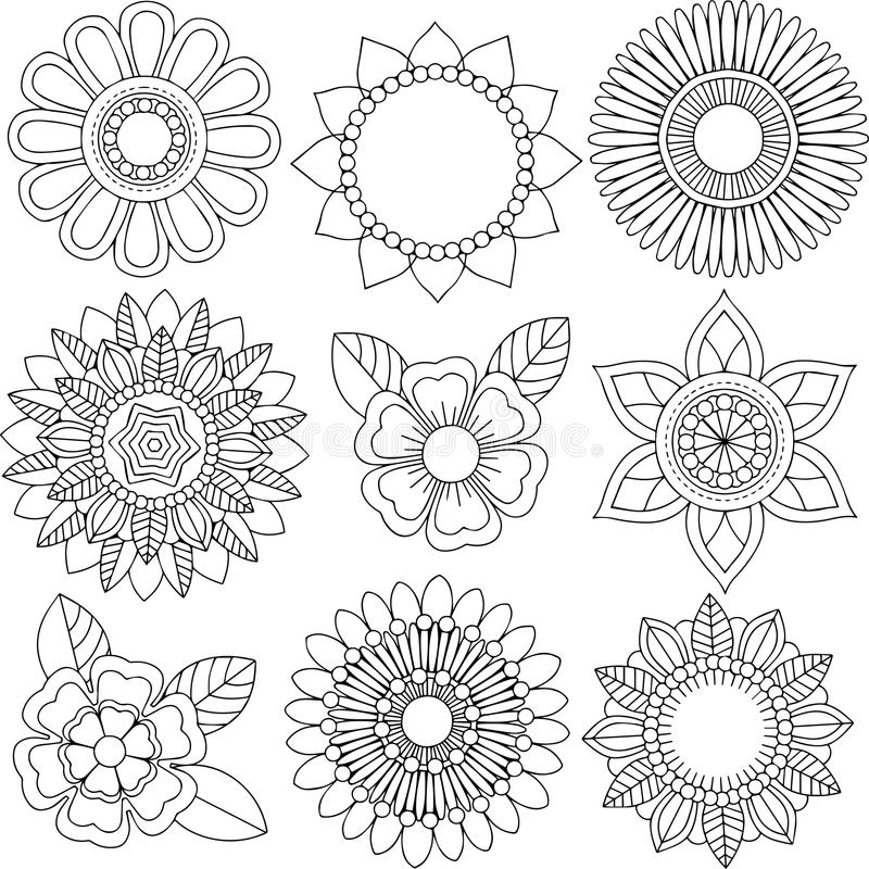 Sistema de diversos flores y estampados de flores libre illustration
