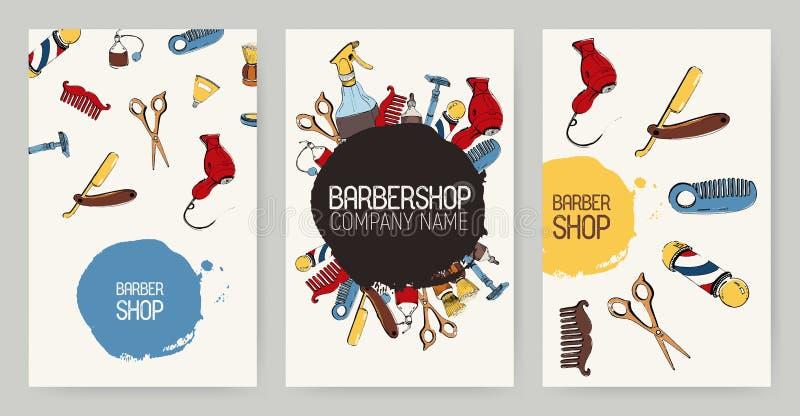 Sistema de diversos fondos de la publicidad de la barbería Contextos coloridos con las herramientas Colección de las plantillas d libre illustration