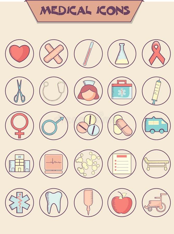 Sistema de diversos iconos médicos para la salud y médico libre illustration