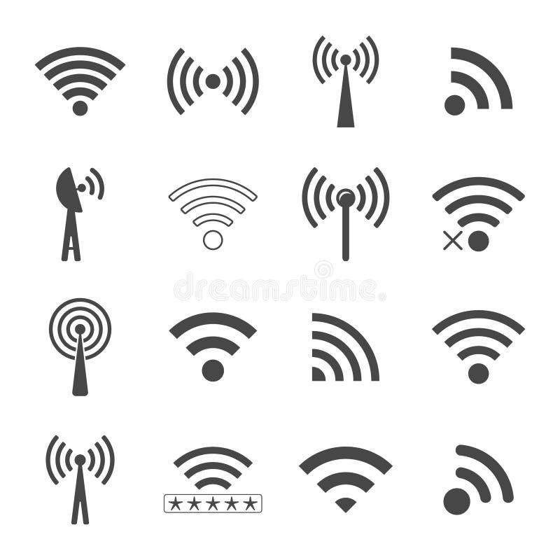 Sistema de diversos iconos negros del wifi del vector, concepto de communicati ilustración del vector